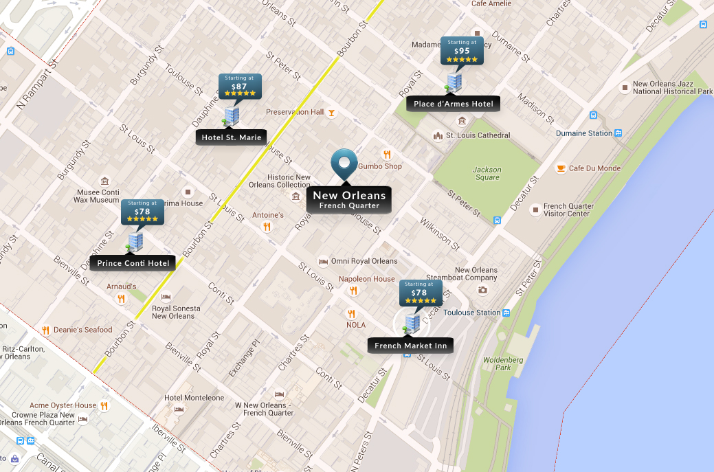 New Orleans Hotels Map French Quarter NOLA Uptown Downtown